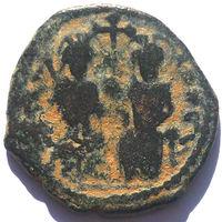 ВИЗАНТИЯ. ЮСТИН II И СОФИЯ (565-578). АНТИОХИЯ. 575 г. 1/2 ФОЛЛИСА.