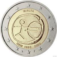2 евро 2009 Мальта 10 лет Экономическому и валютному союзу UNC из ролла