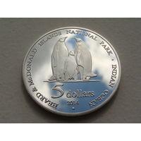 """Остров Херд и Макдональд.  5 долларов 2014 год """"Пингвины"""""""