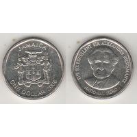 Ямайка km189 1 доллар 2008 год (новый тип) (круглая) (al)(f15)