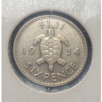 Фиджи Британская колония 6 пенсов 1934 Георг V