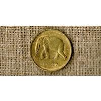 Конго / Бельгийское Конго 2 франка 1947 / фауна / слон /(N)