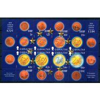 Монеты Европы Гибралтар 2002 год 1 малый лист из 8 марок
