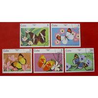 Куба. Бабочки. ( 5 марок ) 1984 года.