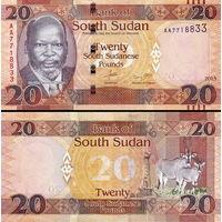 Южный Судан 20 фунтов 2017 год  UNC