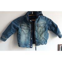 Куртка джинсовая утепленная р. 100-116 см