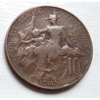 Франция 10 сантимов, 1914 3-12-22