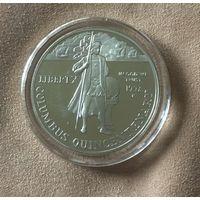 Распродажа, США, 1 доллар , 1992г, Колумб, серебро, пруф