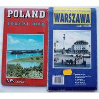 Карта Польши туристическая и план Варшавы и окрестностей ( цена за две )