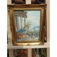 340 Красивая Винтаная Картина Улицы Парижа Масло Холст 24х19см - Рама Дерево 36х31
