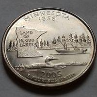 25 центов, квотер США, штат Миннесота, P