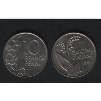 Финляндия km65 10 пенни 1990 год (M) (новый тип) CuNi цветы (f34)