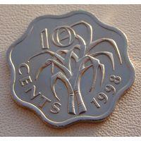 """Эсватини """"Свазиленд""""  10 центов 1998 год  KM#49  """"Король Мсвати III"""""""