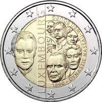 2 евро 2015 г. Люксембург 125 лет династии Нассау-Вейльбург.UNC из ролла