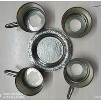 4 подстаканника с блюдцами посеребренные МНЦ СССР
