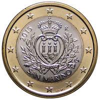 1 евро 2015 Сан-Марино UNC из ролла