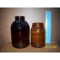 2 лабораторные банки из темного коричневого стекла