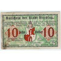 Австрия, Нотгельд 10 Heller 1919 год.