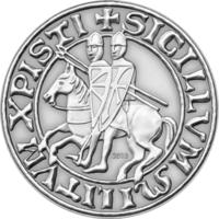 "RARE Палау 1 доллар 2013г. ""Тамплиеры"". Монета в капсуле; подарочном футляре; сертификат; коробка. CuNi; посеребрение 27гр."