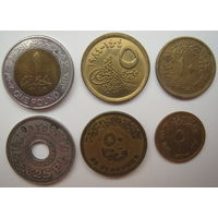 Египет 1 фунт, 50-25-10-5 пиастров. Набор 6 монет (u)