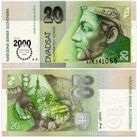 Словакия. 20 крон (образца 2000 года, P34, MILLENIUM, UNC)