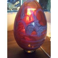 Цветное авторское двухслойное огромное цветное стекло, яйцо. Пузырьки.