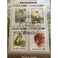 Уганда 2013. Фауна марка в марке. Малый лист