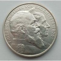 2 марки 1906, 50 лет свадьбе Фридриха I и Луизы Прусской, серебро