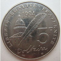 Франция 5 франков 1994 г. 300 лет со дня рождения Вольтера (d)