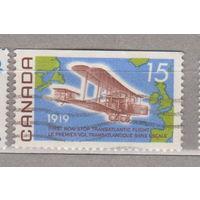 Авиация самолеты  50-летию первого беспосадочного трансатлантического полета Канада 1969 год лот 7 Менее 37 % от каталога БЕЗ ВЕРХНЕЙ ПЕРФОРАЦИИ
