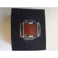 Кольцо перстень мужской с камнем агат размер20,5-21 пр925