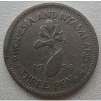 Родезия и Ньясаленд 3 пенса 1956 г.