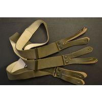 Подтяжки брючные Германия Бундесвер кожаные крепления с широкими эластичными лямками 110 см