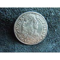 3 крейцера 1677 года. Австрия. Леопольд 1. Серебро.