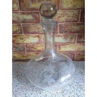 Графин стекло, объемный, высота 28 см, диаметр 20
