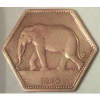 БЕЛЬГИЙСКОЕ КОНГО 2 франка 1943 год - aUNC!
