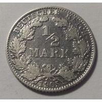 Германия 1/2 марки (пол марки) 1905 D. Серебро 0.900