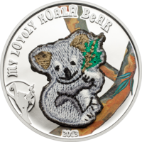 """Палау 5 долларов 2013г. Вышивка """"Мой милый мишка. Коала"""". Монета в капсуле; сертификат. СЕРЕБРО 20гр."""