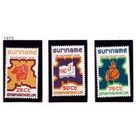 Суринам-1975,(Мих.702-704) **  , 20% каталога, Спорт, Музыка