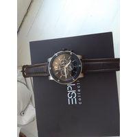 Швейцарские часы ESPRIT Chronograph Sapfire Swiss Made. Деревянная коробка и документы..