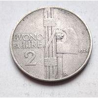 Италия 2 лиры, 1924  2-8-20