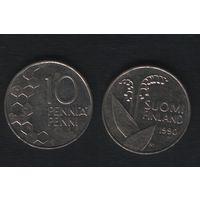 Финляндия km65 10 пенни 1990 год (M) (новый тип) CuNi цветы (f36)