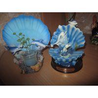 Декоративный подсвечник и дельфины на подставочке