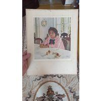 Картина-плакат девочка с персиками 1951год,художник  В А Серов.