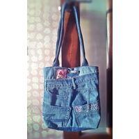Дизайнерская джинсовая сумка-шоппер