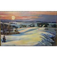 "Картина ""Зима"" 1987г. Тоболич Мария Евгеньевна. Холст, масло. Размер картины без рамы 55Х90"