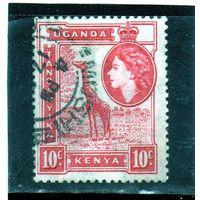 Кения,Уганда,Танганьика (Восточноафриканское сообщество).Mi:EA 93. Королева Елизавета II и жираф. 1954.