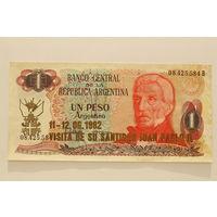 Аргентина, 1 песо (образца 1974-75 года, надпечатка 1982 года, UNC-)