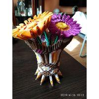 Декоративное изделие из Бумаги ВАЗА с Цветами Оригами.