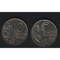 Финляндия km65 10 пенни 1990 год (M) (новый тип) CuNi цветы (f38)